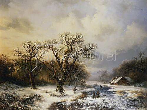 Barend Cornelisz Koekkoek: Winterlandschaft mit Eisläufern und Reisigsammlern. 1849.