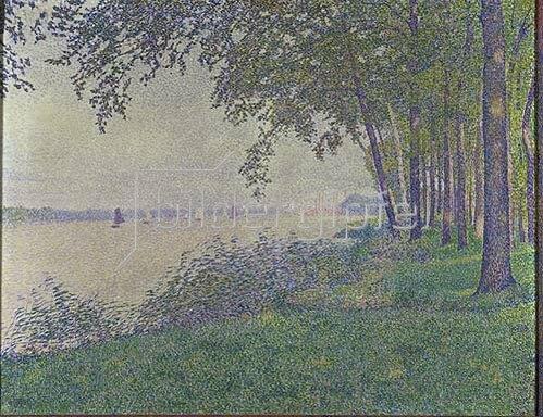 Theo van Rysselberghe: Flußlandschaft mit Segelbooten. 1892