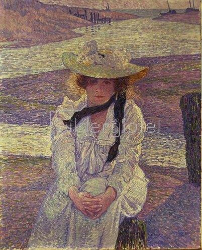Theo van Rysselberghe: Junge Frau am Ufer des Greve-Flusses. 1901