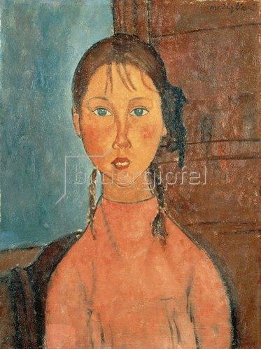 Amadeo Modigliani: Mädchen mit Zöpfen. 1918