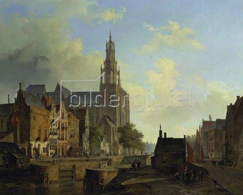 Cornelius Springer: Fantasieansicht von Antwerpen.