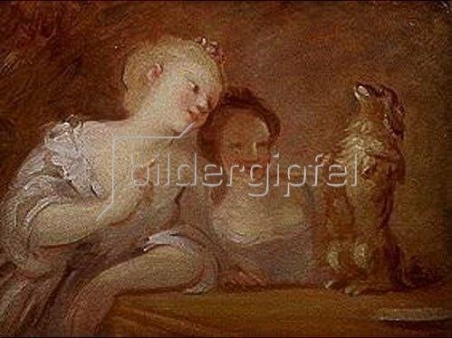 Nicolas Lancret: Zwei Mädchen lassen ihr Hündchen tanzen.