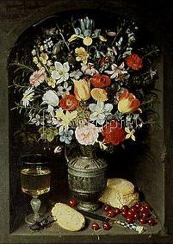 Georg Flegel: Blumenstrauß in silbernem Krug in einer Nische stehend.