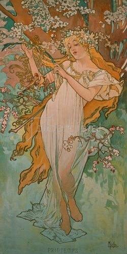 Alfons Mucha: Jahreszeiten: Frühling. 1896.