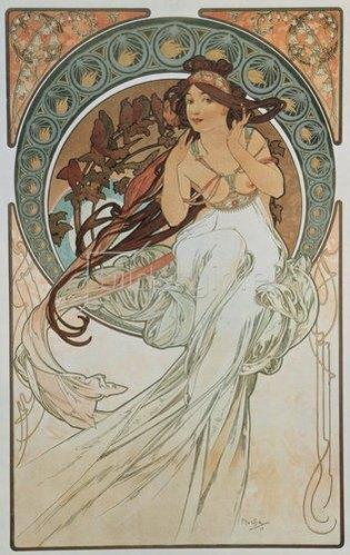 Alfons Mucha: Vier Künste: Die Musik. 1898