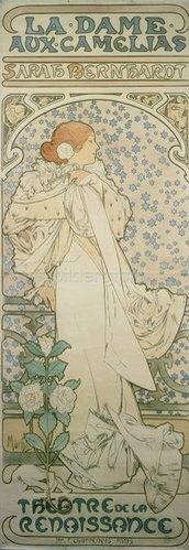 Alfons Mucha: Die Kameliendame mit Sarah Bernhardt. Plakat für das Theatre de la Renaissance. 1896