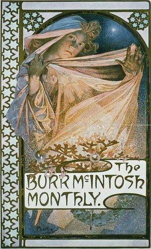 Alfons Mucha: Umschlag für The Burr McIntosh Monthly New York 1907.