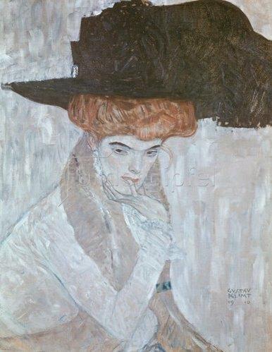 Gustav Klimt: Dame mit schwarzem Federhut. 1910