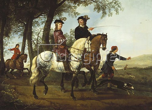 Aelbert Cuyp: Zur Jagd ausreitendes Paar. Um 1650