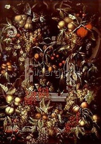Ottmar Elliger d.Ä.: Stilleben von Trauben, Pflaumen, Birnen, Äpfeln und Beeren, eine Nische umgebend