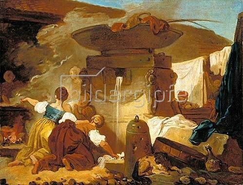 Jean Honoré Fragonard: Wäscherinnen am Brunnen.