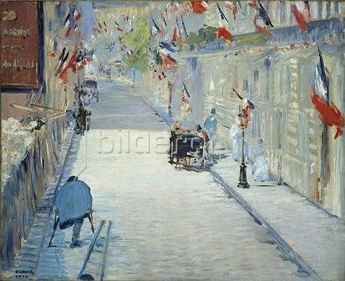 Edouard Manet: Die Rue Mosnier in Paris im Fahnenschmuck. 1878