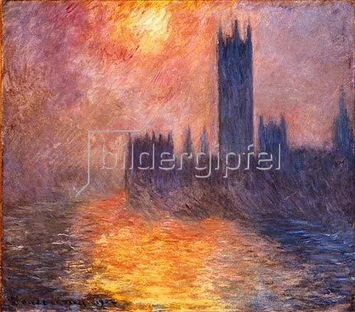 Claude Monet: Das Parlament in London bei Sonnenuntergang. 1904.