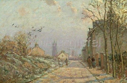 Camille Pissarro: Vorstadtstraße im Schnee. 1872.