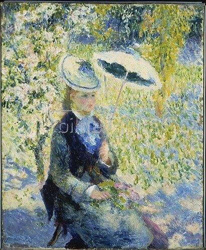 Auguste Renoir: Frau mit Sonnenschirm zwischen Blüten.