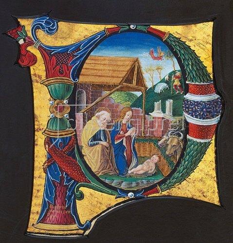 Handschrift: Initiale 'P' mit Darstellung der Geburt Christi.