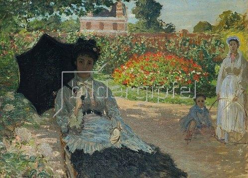 Claude Monet: Camille Monet mit Sohn und Kindermädchen im Garten. 1873.