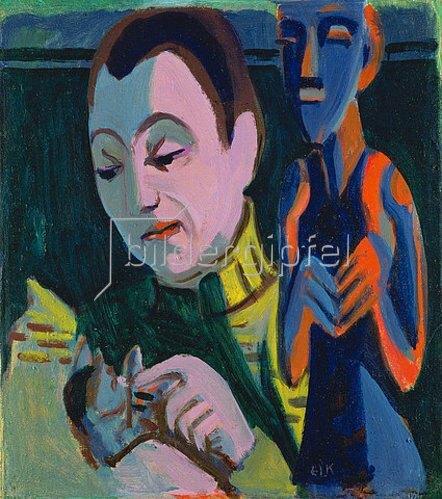 Ernst Ludwig Kirchner: Portrait Erna mit Katze und Holzfigur. 1927.