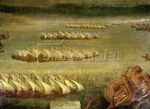 Luca Cambiaso: Die Seeschlacht von Lepanto.