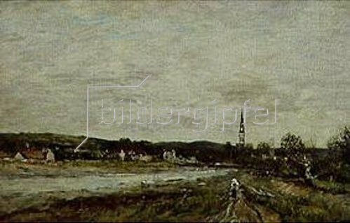 Eugène Boudin: Stadt an einem Fluss. 1871