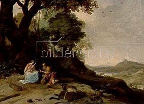 Bartholomeus Breenbergh: Landschaft mit Ruhe auf der Flucht. 1634
