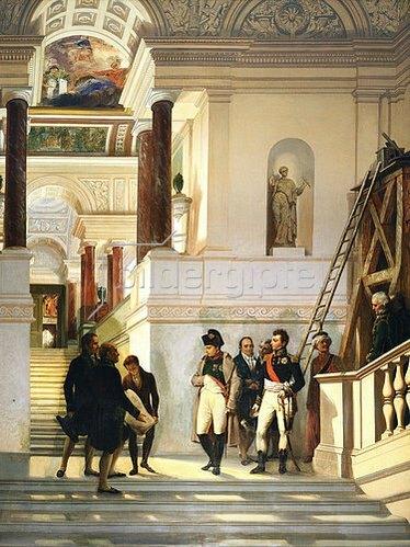 Auguste Couder: Napoleon I. Bonaparte mit den Architekten Perxier und Fontaine im Louvre