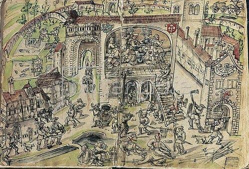 Handschrift: Die Plünderung des Klosters Weissenau. Federzeichnung von Jakob Murner, 1525