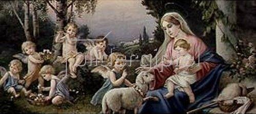 Anonym: Maria mit Jesuskind, Schaf und Putten in einer idealisierten Landschaft. Um 1900