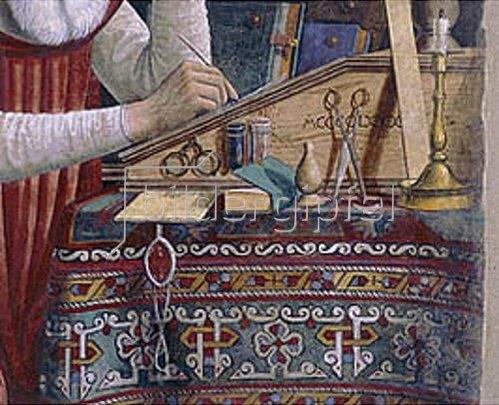 Domenico (T.Bigordi) Ghirlandaio: Detail aus dem Gemälde 'Der Hl. Hieronymus am Schreibtisch'. Fresko.