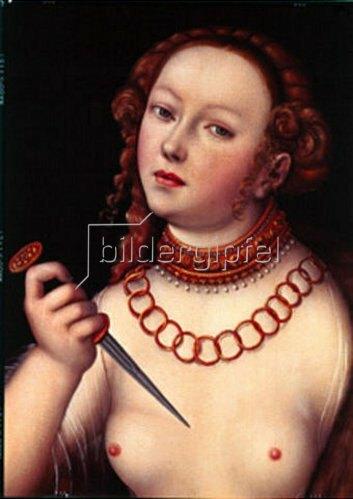 Lucas Cranach d.Ä.: Selbstmord der Lucretia. Detail: Kopf der Lucretia.