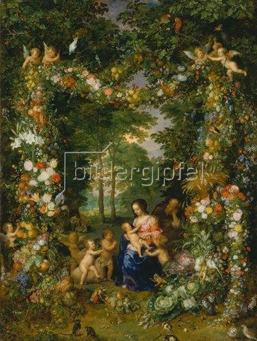 Jan Brueghel d.Ä.: Hl. Familie in einem Blumen- und Früchtekranz. (Zusammen mit Pieter van Avont).