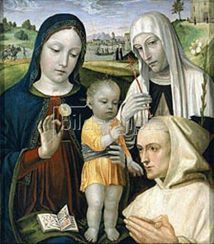 Bergognone (Ambrogio di Stefano da Fossano): Die Hl. Jungfrau mit dem Kind und der Hl. Katharina von Siena.