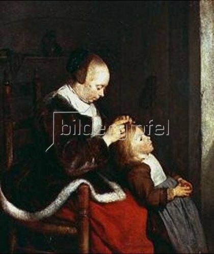 Gerard ter Borch: Muttersorgen, bekannt als 'Auf der Jagd nach Läusen'. Um 1652-53