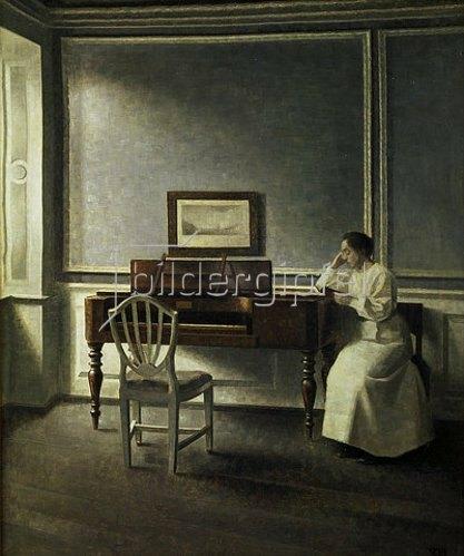 Vilhelm Hammershoi: Frau, neben einem Klavier in einem Buch lesend. 1907