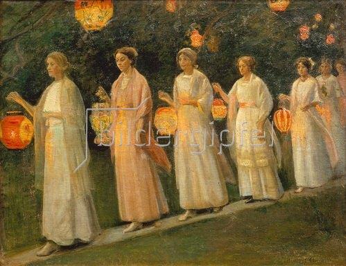 Michael Peter Ancher: Gartenfest. Der Lampion-Umzug.