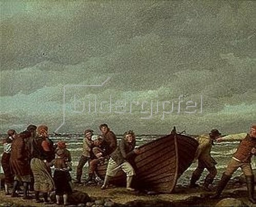 Christoffer W Eckersberg: Fischer aus Hornbaek bringen ihr Boot an Land.