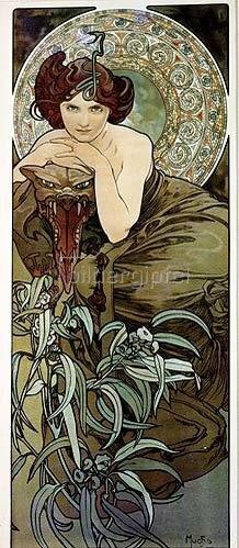 Alfons Mucha: Edelsteine: Smaragd. 1900