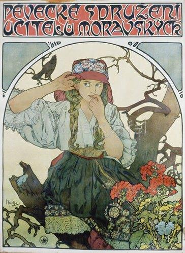 Alfons Mucha: Plakat 'Pévecké sdruzeni ucitelu moravskych' (Gesangsverein mährischer Lehrer). 1911