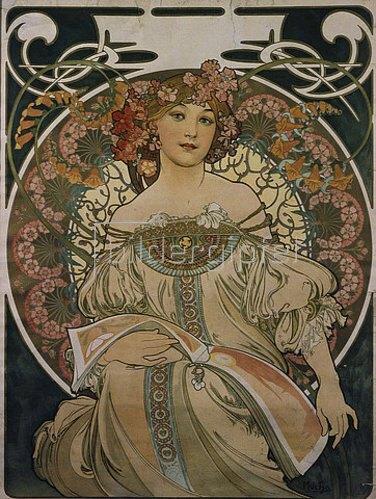 Alfons Mucha: Plakatgestaltung (ursprünglich für F. Champenois, jedoch ohne Firmeneindruck). 1897