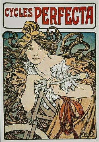 Alfons Mucha: Werbeplakat für 'Cycles Perfecta'. 1902
