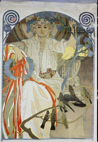 Alfons Mucha: Plakat für das Gesangs- und Musikfest Frühling 1914 in Prag. 1914.