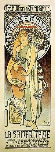 Alfons Mucha: Plakat für das Schauspiel La Samaritaine von Edmond Rostand. 1897.