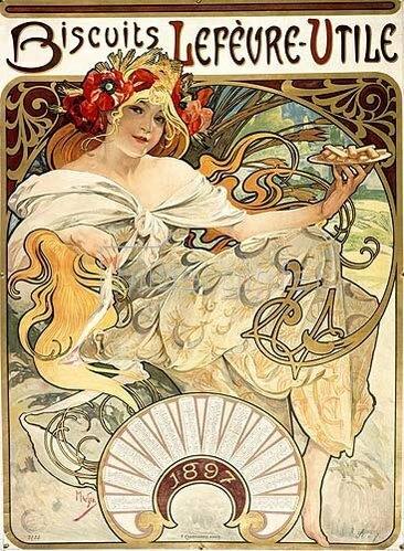 Alfons Mucha: Kalenderillustration für Lefevre-Utile 1897.