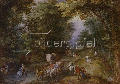Jan Brueghel d.Ä.: Belebte Waldstrasse. 1605