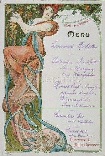 Alfons Mucha: Speisekarte für Moët et Chandon. 1899
