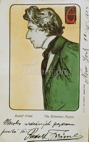 Alfons Mucha: Der böhmische Pianist Rudolf Friml. Postkarte mit Widmung für eine Konzert-