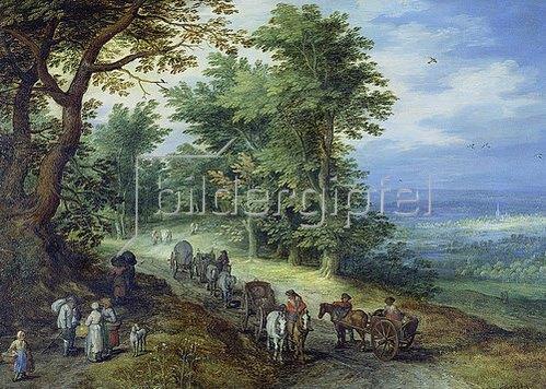 Jan Brueghel d.Ä.: Landschaft mit Gepäckzug. 1610
