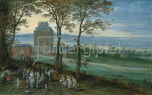 Jan Brueghel d.Ä.: Erzherzog Albrecht und Isabella vor Schloss Mariemont. 1611