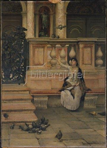 Dominik Skutecky: Dame mit Tauben. 1894.