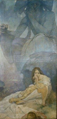 Alfons Mucha: Tragödie. Entwurf für eine Dekoration des deutschen Theaters in New York.